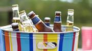 beers in colourful bucket